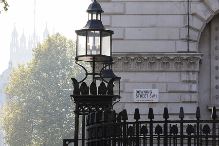 LONDON, UK - October 04, 2015: Downing Street's sign in Westminster. Downing St.