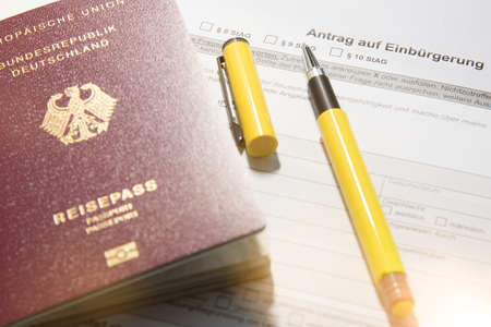 German Passport with petition for naturalization and pen