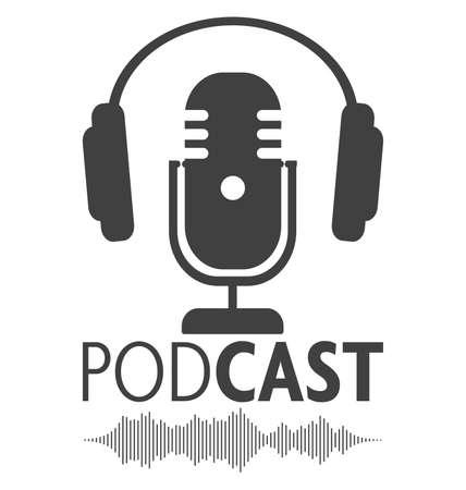 Illustration pour podcasting symbol with microphone, headphone and audio waveform - image libre de droit