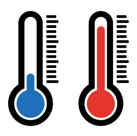 simple flat hot and cold temperature air thermometer icon
