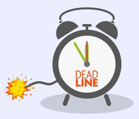 Illustration pour deadline concept with blasting fuse on classic alarm clock vector illustration - image libre de droit