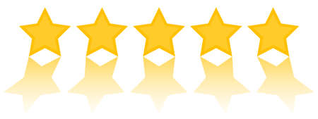 Illustration for five star rating, five golden stars with refleciton on white background vector illustration - Royalty Free Image