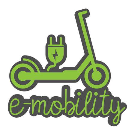 Illustration pour electric push scooter e-scooter symbol with plug and text e-mobility vector illustration - image libre de droit