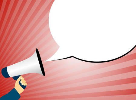 Illustration pour hand holding megaphone or bullhorn against red background with rays of light and speech bubble vector illustration - image libre de droit
