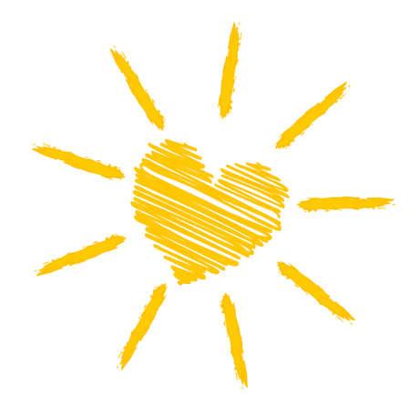 Illustration for bright orange yellow sun icon or symbol vector illustration - Royalty Free Image