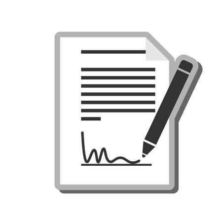 Illustration pour simple black and white signing document icon or symbol vector illustration - image libre de droit