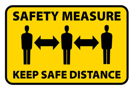 Illustration for safety measure keep a safe distance sign, corona virus pandemic precaution vector illustration - Royalty Free Image