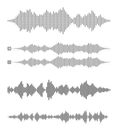 Illustration pour set of audio waveforms or sound waves, speech, noise or music symbol vector illustration - image libre de droit