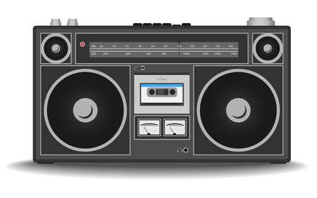 Illustration pour classic 80s boombox cassette tape recorder isolated on white vector illustration - image libre de droit