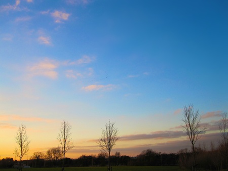 Beautiful sunset moving from yellow through to deep blue with v formation of birds flying south. Copy space