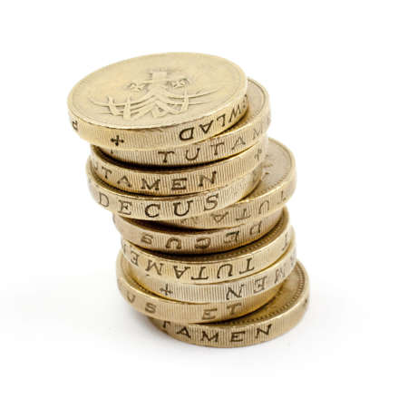 Stack of £1 coins.