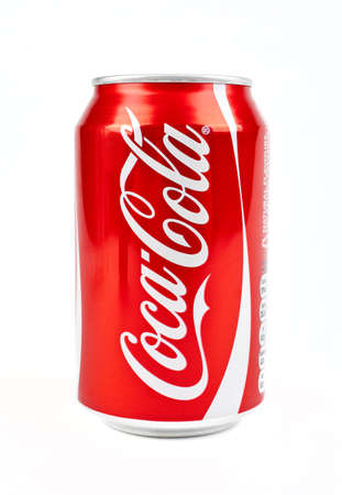 Can of Cola over a white background.