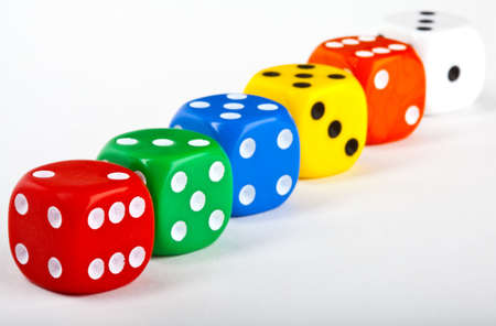 Six Dice over a white background