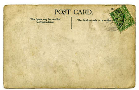 A vintage stamped postcard over a white background.
