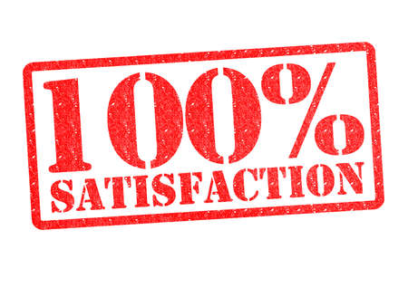 100% SATISFACTION rubber stamp over a white background.