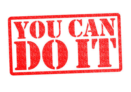 YOU CAN DO IT rubber stamp over a white background.