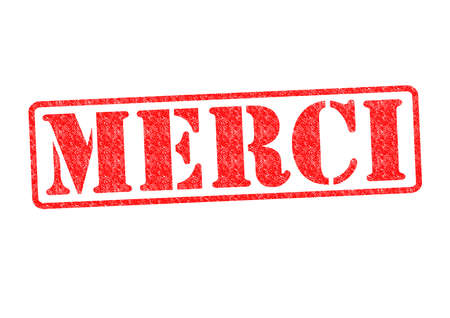 MERCI Rubber Stamp over a white background