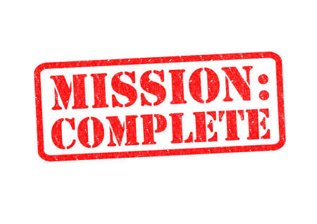 MISSION: COMPLETE Rubber Stamp over a white background.