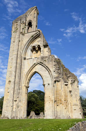 The historic ruins of Glastonbury Abbey in Somerset, England.