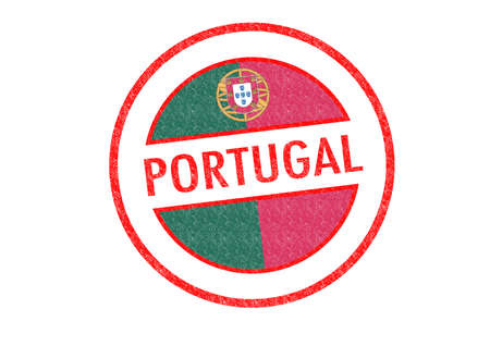 Passport-style PORTUGAL rubber stamp over a white background.