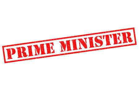 PRIME MINISTER red Rubber Stamp over a white background.