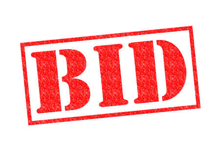 BID red Rubber Stamp over a white background.