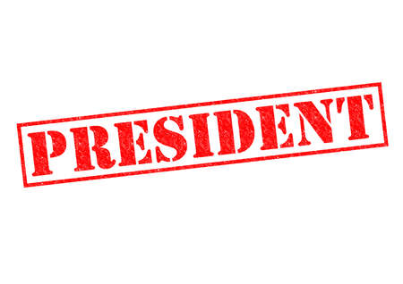 PRESIDENT red rubber Stamp over a white background.