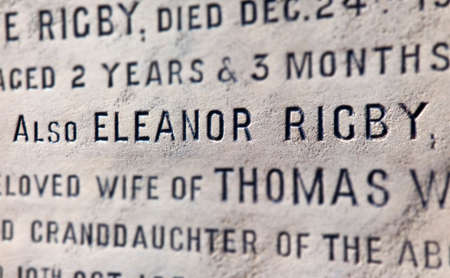 The grave of Eleanor Rigby which is situated in the church yard of St  Peters Church