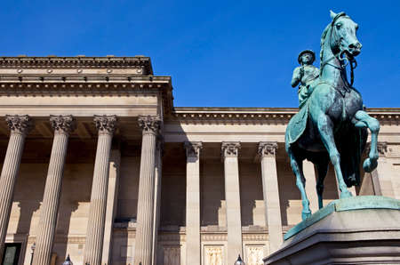Statue of Queen Victoria outside St  Georges Hall in Liverpool