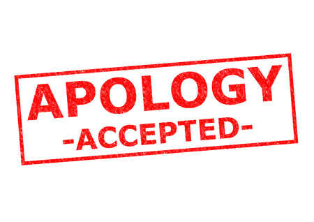 APOLOGY ACCEPTED red Rubber Stamp ver a white background.