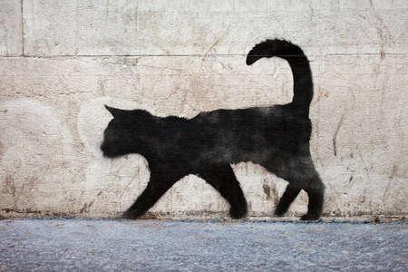 Graffiti outline of a black cat in urban Paris.