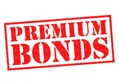PREMIUM BONDS red Rubber Stamp over a white background.