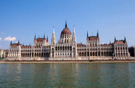 The beautiful Hungarian Parliament Building in Budapest, Hungary.