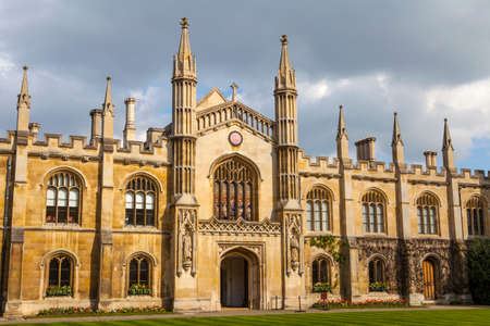 A shot of the facade of Corpus Christi College at Cambridge University in Cambridge, UK.
