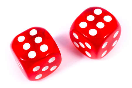 Photo pour Two red dice isolated over a plain white background. - image libre de droit