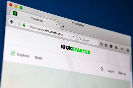 LONDON, UK - APRIL 13TH 2017: The official homepage of the Kickstarter crowdfunding website, on 13th April 2017.