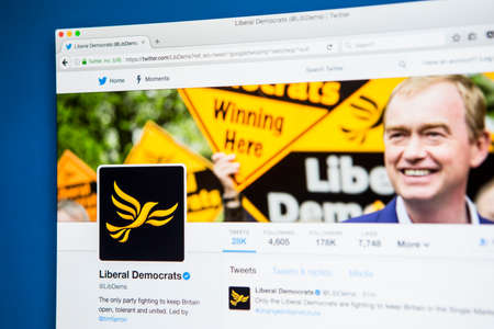 LONDON, UK - MAY 3RD 2017: The official twitter page for the Liberal Democrats political party, on 3rd May 2017.