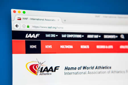 LONDON, UK - MAY 3RD 2017: The homepage for the official website of the International Association of Athletics Federations, the international governing body for the sport of athletics, on 3rd May 2017.