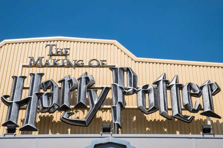 LEAVESDEN, UK - JUNE 19TH 2017: The sign above the main entrance to the Making of Harry Potter tour at Warner Bros studio in Leavesden, UK, on 19th June 2017.
