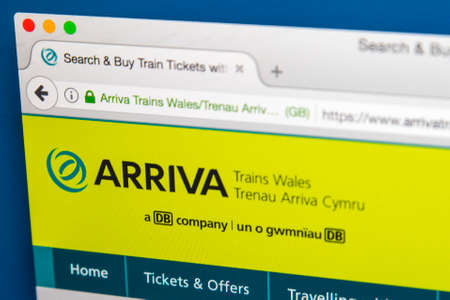 LONDON, UK - JUNE 8TH 2017: The homepage of the official website for Arriva Trains Wales, on 8th June 2017.  Arriva is a British train operating company operating the Wales & Borders franchise.