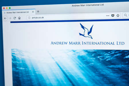LONDON, UK - NOVEMBER 21ST 2017: The homepage of the official website for Andrew Marr International Ltd who specialise in the catching, trading, processing and distribution of seafood, on 21st November 2017.