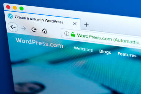 LONDON, UK - JANUARY 25TH 2018: The homepage of the official website for WordPress - the online content management system, on 25th January 2018.