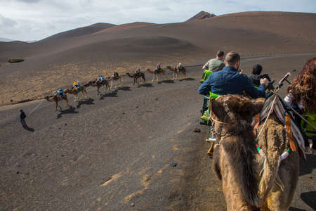LANZAROTE, SPAIN - JANUARY 18TH 2018: Tourists having Camel rides at the famous Timanfaya National Park on the volcanic island of Lanzarote in Spain, on 18th January 2018.