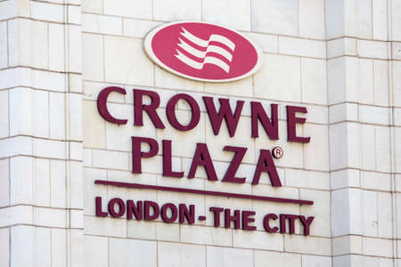 LONDON, UK - JUNE 6TH 2018: The logo of the Crown Plaza hotel, located on New Bridge Street in London, on 6th June 2018.