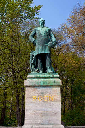 A statue of Albrecht von Roon, the historic Prussian soldier and statesman, located in the Tiergarten in Berlin, Germany.