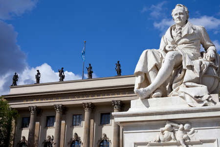 Statue of historic figure Alexander von Humboldt located outisde Humboldt University in the city of Berlin, Germany.