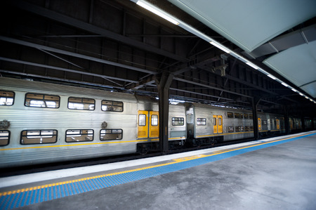This image shows a commuter train in the station - Sydney Australia