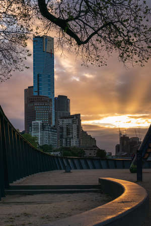 MELBOURNE, AUSTRALIA - 18 October 2019: Eureka Tower viewed from Birrarung Marr in Melbourne, Australia