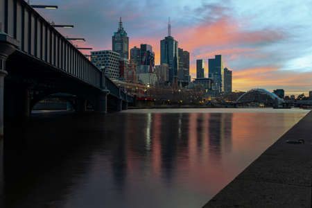 Colourful Sunrise over the Melbourne CBD in Australia