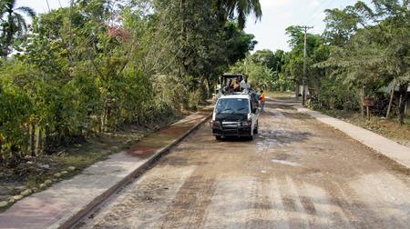 BOCA CHICA, DOMINICAN REPUBLIC,MARCH 2014: caribbean transportation, truck on road near santo domingo